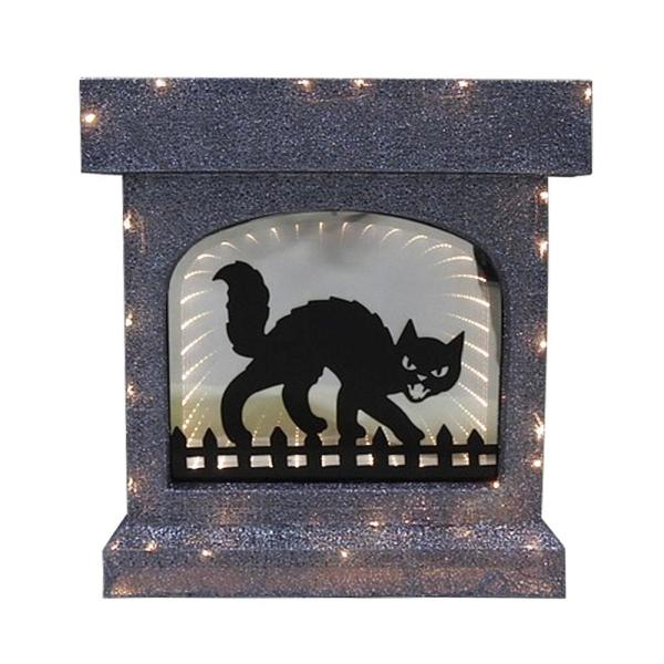 28 in. Lighted Halloween Fireplace with Cat Infinity Mirror