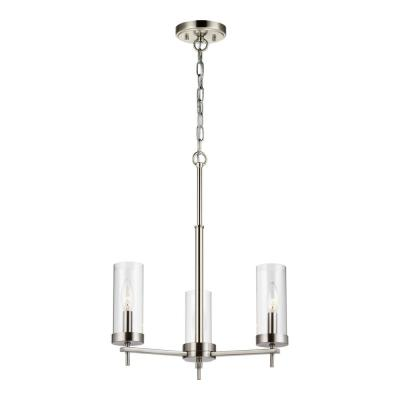 Zire 3-Light Brushed Nickel Chandelier with Clear Glass Shades with Dimmable Candelabra LED Bulb