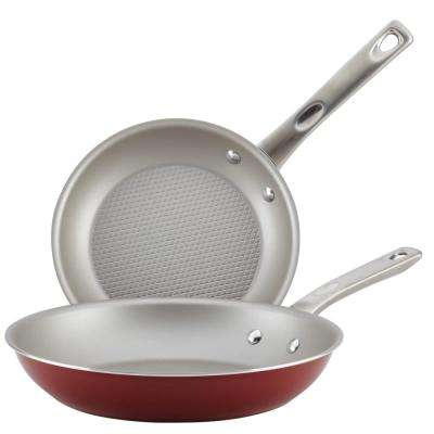 Home Collection 2-Piece Porcelain Enamel Non-Stick Skillet Twin Pack in Sienna Red