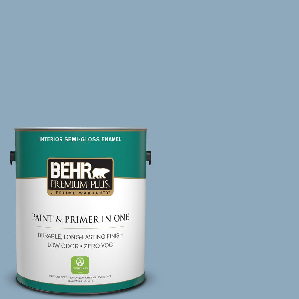 1 gal. #PPU14-09 Windsurf Zero VOC Semi-Gloss Enamel Interior Paint