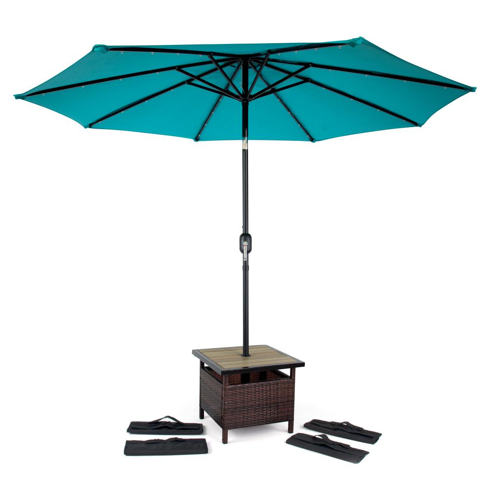 Square Pe Rattan Patio Umbrella Stand And Side Table In Brown With 4 Sandbags