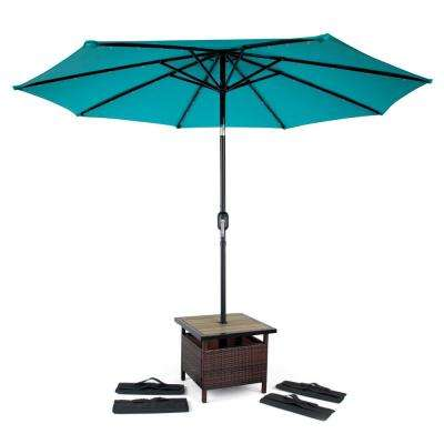 22 in. Square PE Rattan Patio Umbrella Stand and Side Table in Brown with 4 Sandbags