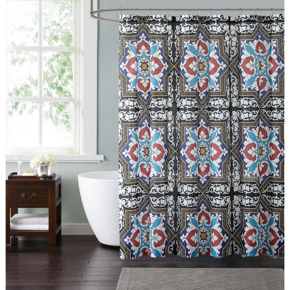 Sheffield 72 In Taupe Blue And Red Shower Curtain