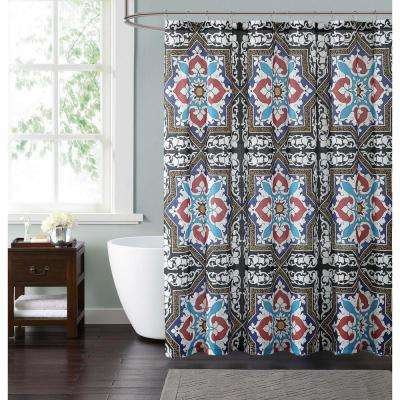 Sheffield  72 in. Taupe, Blue and Red Shower Curtain