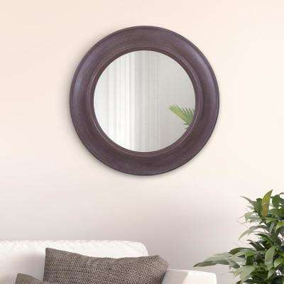 Rustic Round Distressed Beige Wall Mirror