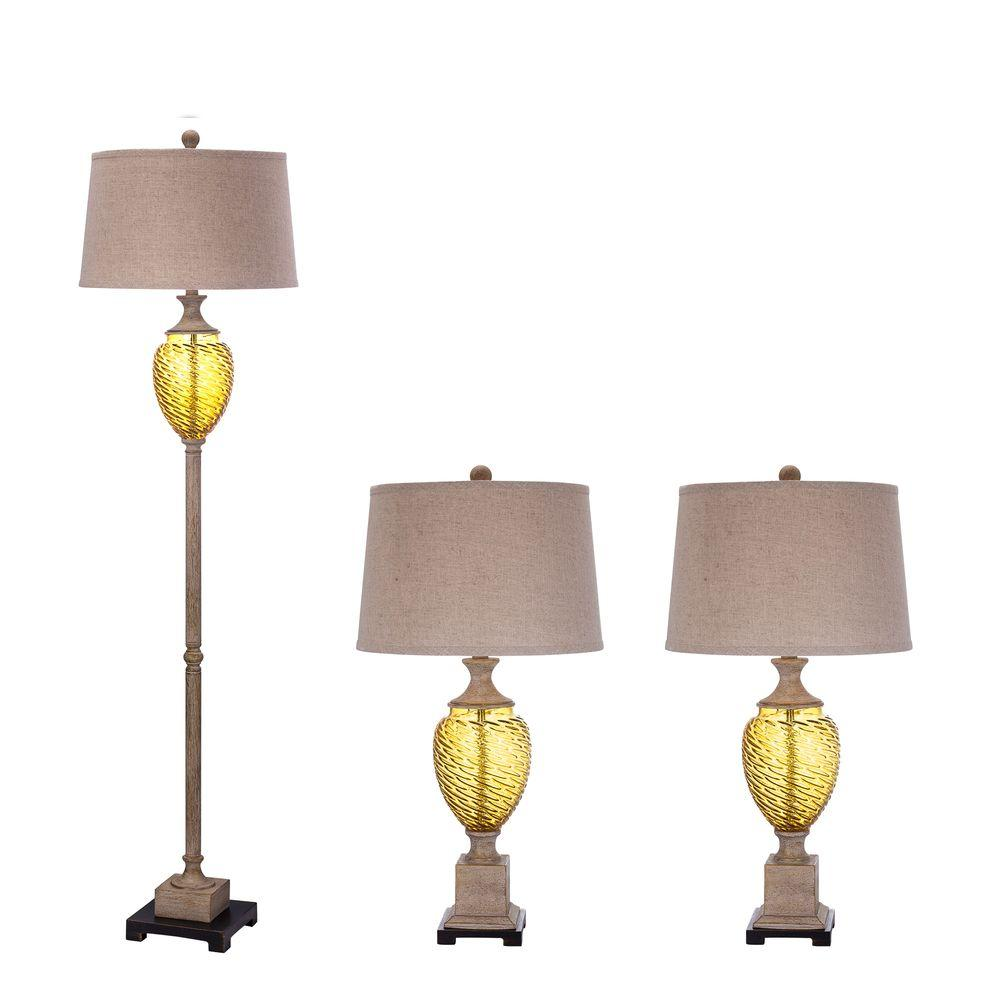65 in. Antique Ivory Amber Glass and Metal Lamp Set with