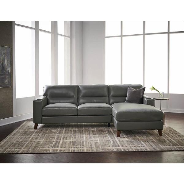 Hydeline Elm 2 Piece Gray Leather 4, Gray Leather Furniture