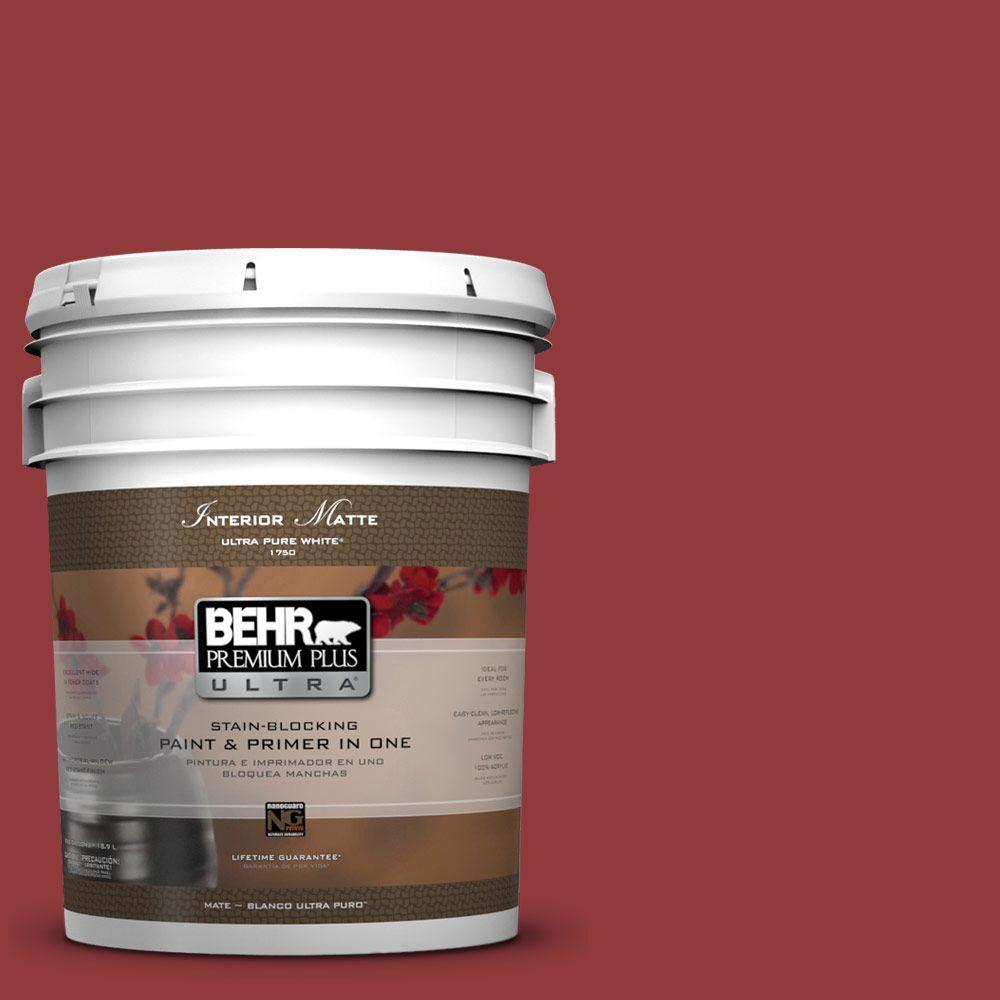 BEHR Premium Plus Ultra 5 gal. #UL110-18 Cherry Tart Flat/Matte Interior Paint