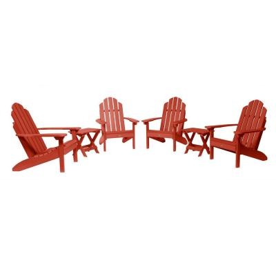 Classic Wesport Rustic Red 6-Piece Plastic Patio Fire Pit Seating Set