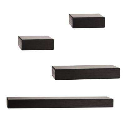 4-Piece Black Wood Floating Chunky Ledge Decorative Wall Shelf Set