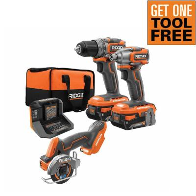 18-Volt SubCompact Brushless 2-Tool Combo Kit with (2) 2.0 Ah Batteries, Charger, Bag and Free 3 in. Multi-Material Saw