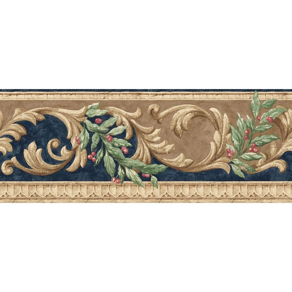 The Wallpaper Company 10 in. x 8 in. Navy and Brown Scroll Border Sample-DISCONTINUED