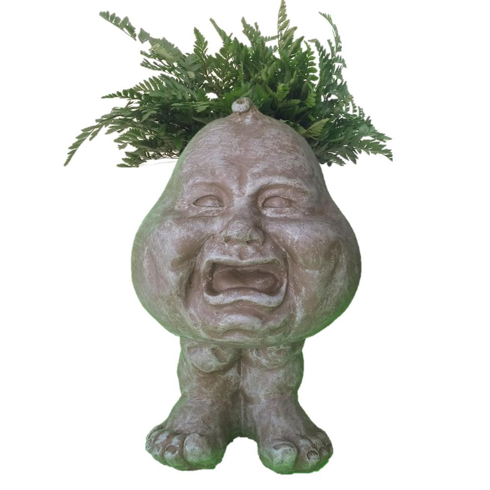 12 in. Stone Wash Crybaby Muggly Planter Statue Hold 4 in.