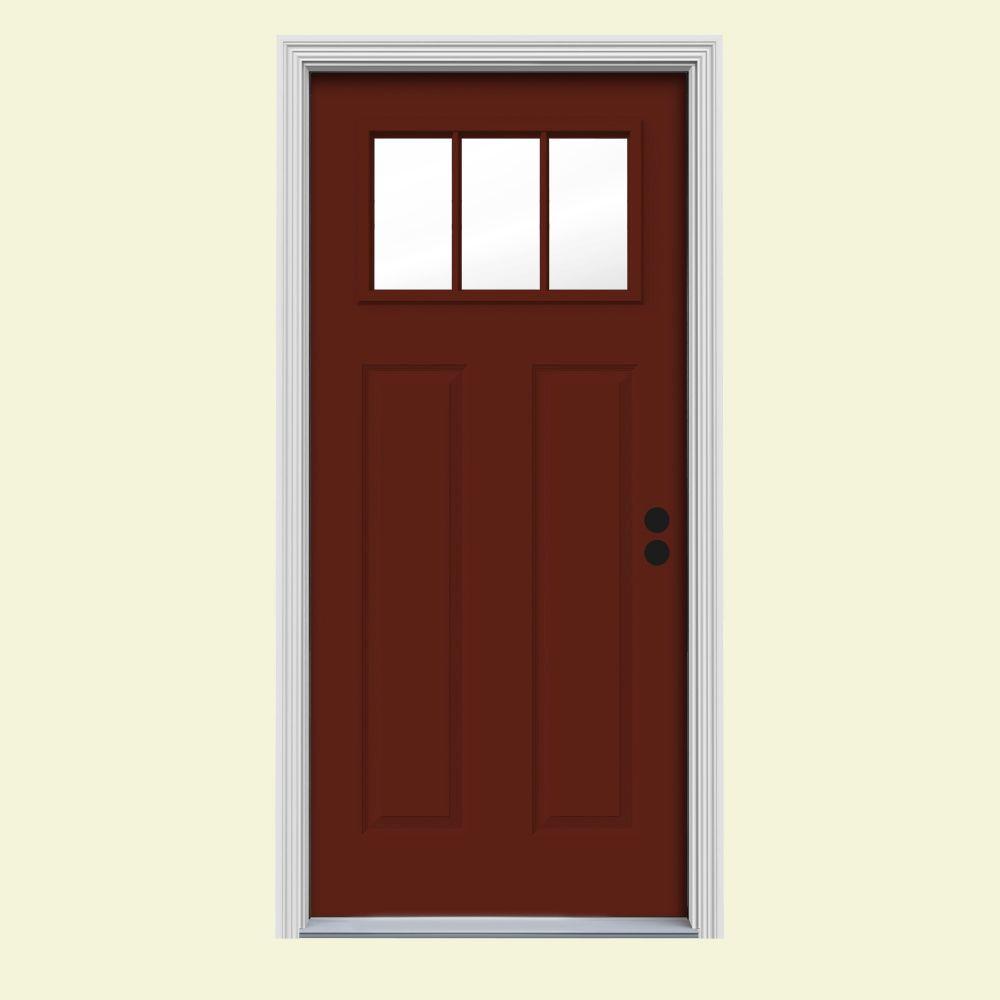 red front doors. Craftsman 3 Lite Painted Steel Prehung Front Door Red  Doors Exterior The Home Depot