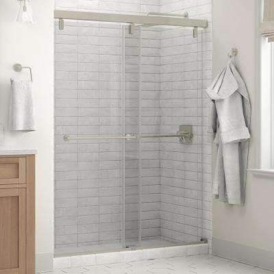Everly 60 x 71-1/2 in. Frameless Mod Soft-Close Sliding Shower Door in Nickel with 1/4 in. (6mm) Clear Glass