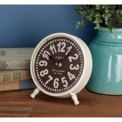 7 in. x 7 in. Round-Shaped Iron Desk Clock (4-Pack)