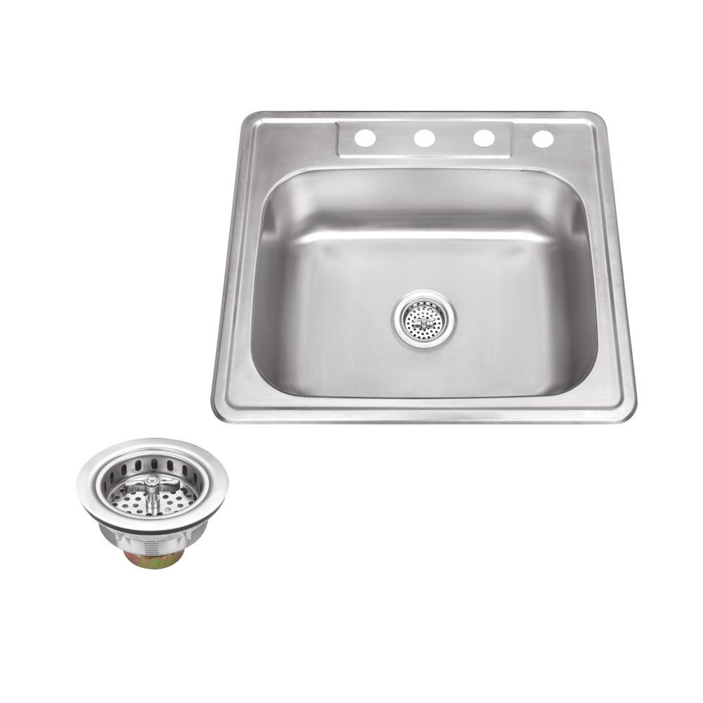 IPT Sink Company Drop-In Stainless Steel 25 in. 4-Hole Single Bowl Kitchen Sink, Brushed Satin was $136.25 now $105.0 (23.0% off)