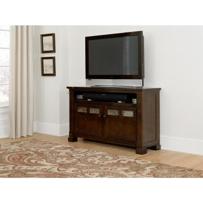 Telluride 54 in. Mesa Brown Wood TV Stand Fits TVs Up to 60 in. with Storage Doors