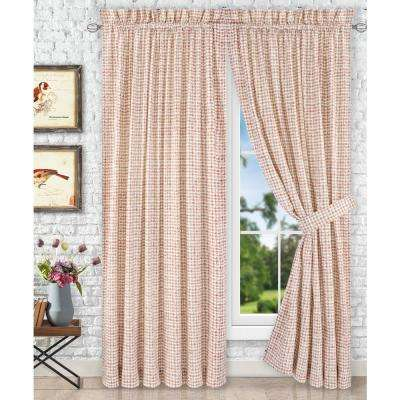 Davins Clay Cotton Twill Tailored Pair Curtains with Ties - 90 in. W x 63 in. L