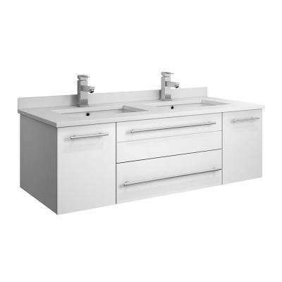 Lucera 48 in. W Wall Hung Bath Vanity in White with Quartz Stone Double Sink Vanity Top in White with White Basins