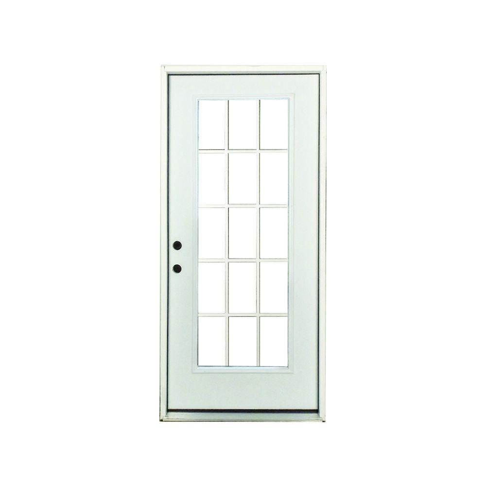 Premium Right Hand 15 Lite External Grille Primed White Fibergl Prehung Front Door