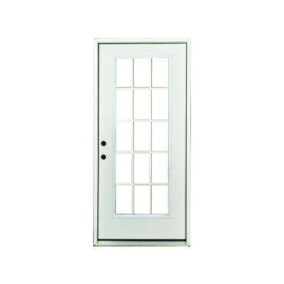 32 in. x 80 in. Premium Right-Hand 15-Lite External Grille Primed White Fiberglass Prehung Front Door