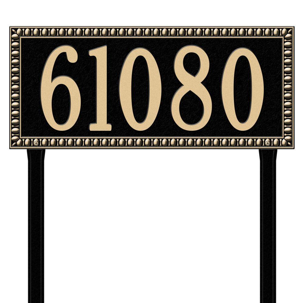 Egg and Dart Rectangular Black/Gold Estate Lawn One Line Address Plaque
