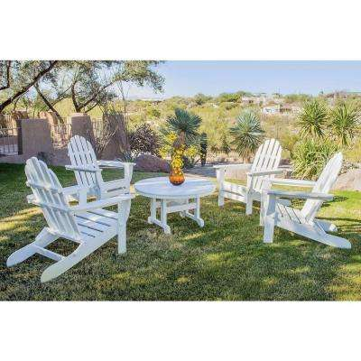Classics White 5-Piece Folding Adirondack Patio Conversation Set