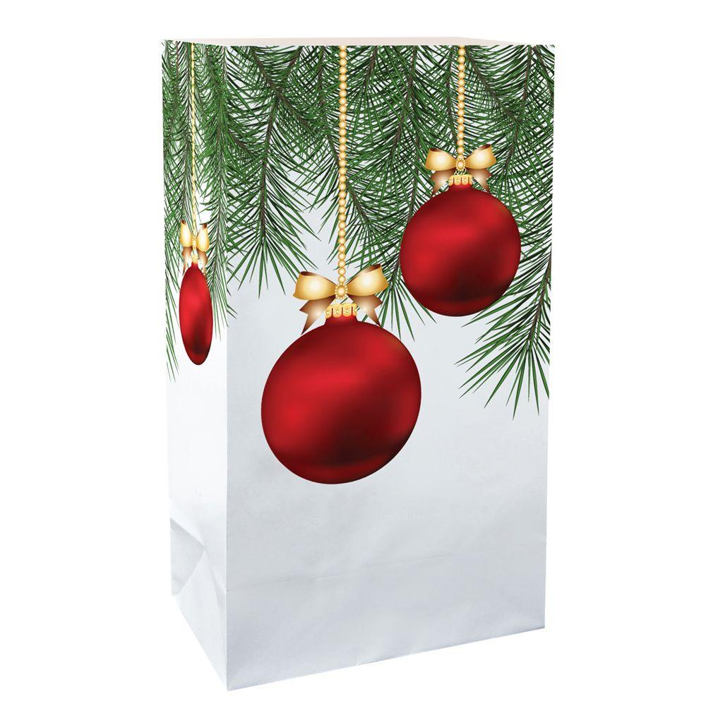 11 in. Christmas Ornaments Luminaria Bags (Count of 24)