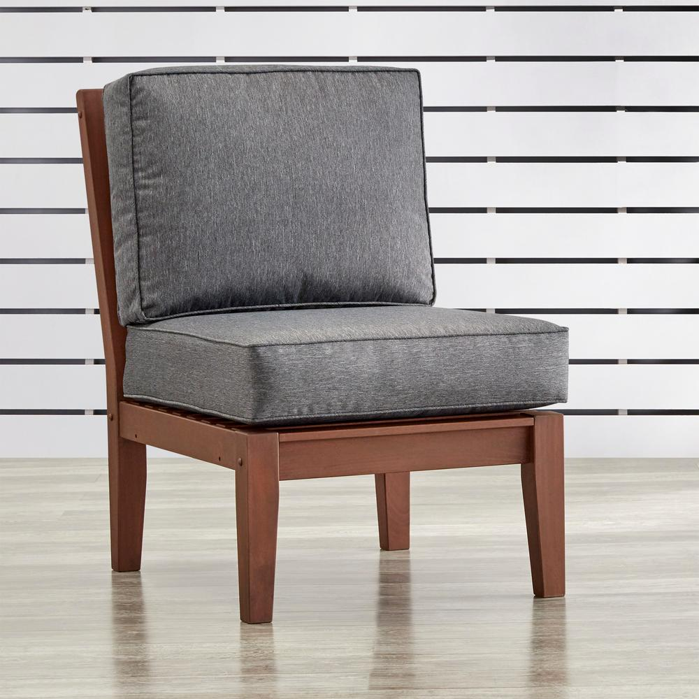 HomeSullivan Verdon Gorge Brown Oiled Wood Outdoor Extension Lounge Chair  With Gray Cushion