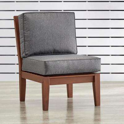 Verdon Gorge Brown Oiled Wood Outdoor Extension Lounge Chair with Gray Cushion