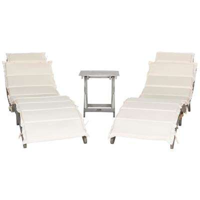 Pacifica Grey 3-Piece Wood Outdoor Lounge Chair with Beige Cushion