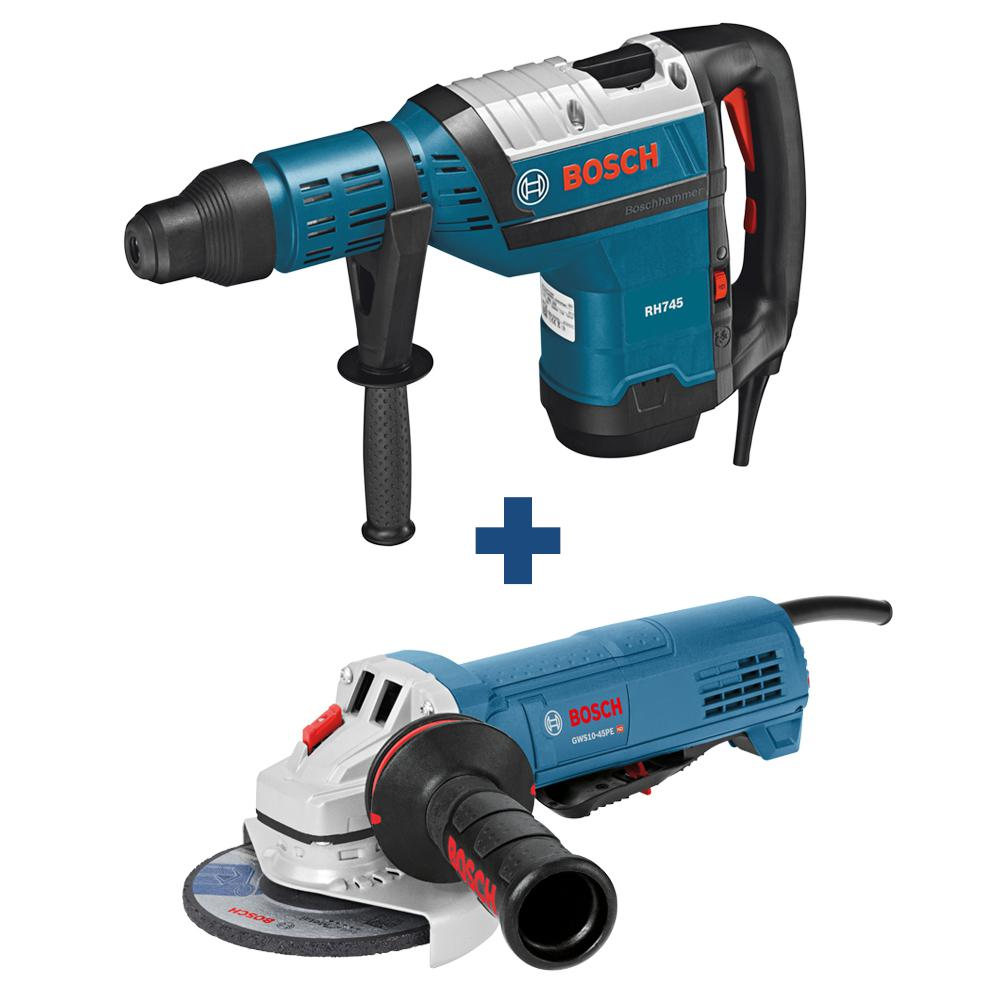 Bosch 13.5 Amp 1-9/16 in. Corded SDS-Max Concrete/Masonry Rotary Hammer Drill with Bonus 10 Amp Corded 4-1/2 in. Angle Grinder