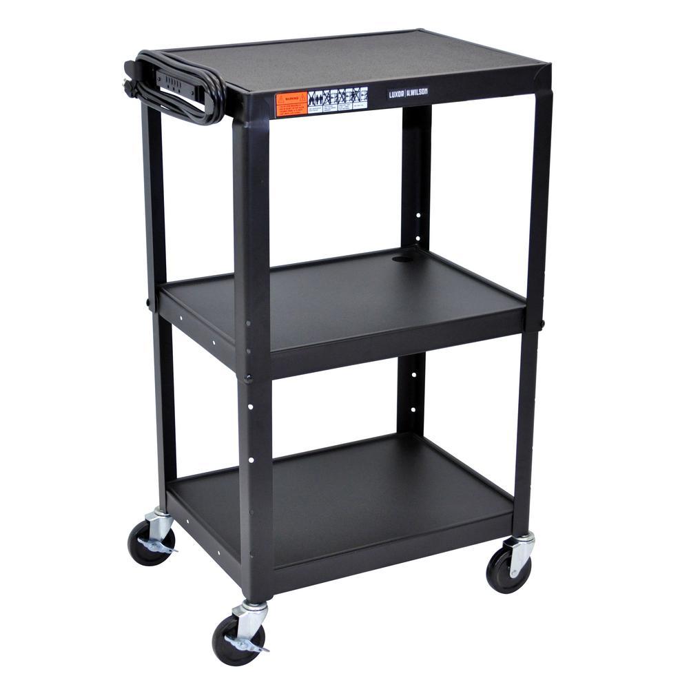 Black Adjustable Height Steel A/V Cart - 3 Shelves
