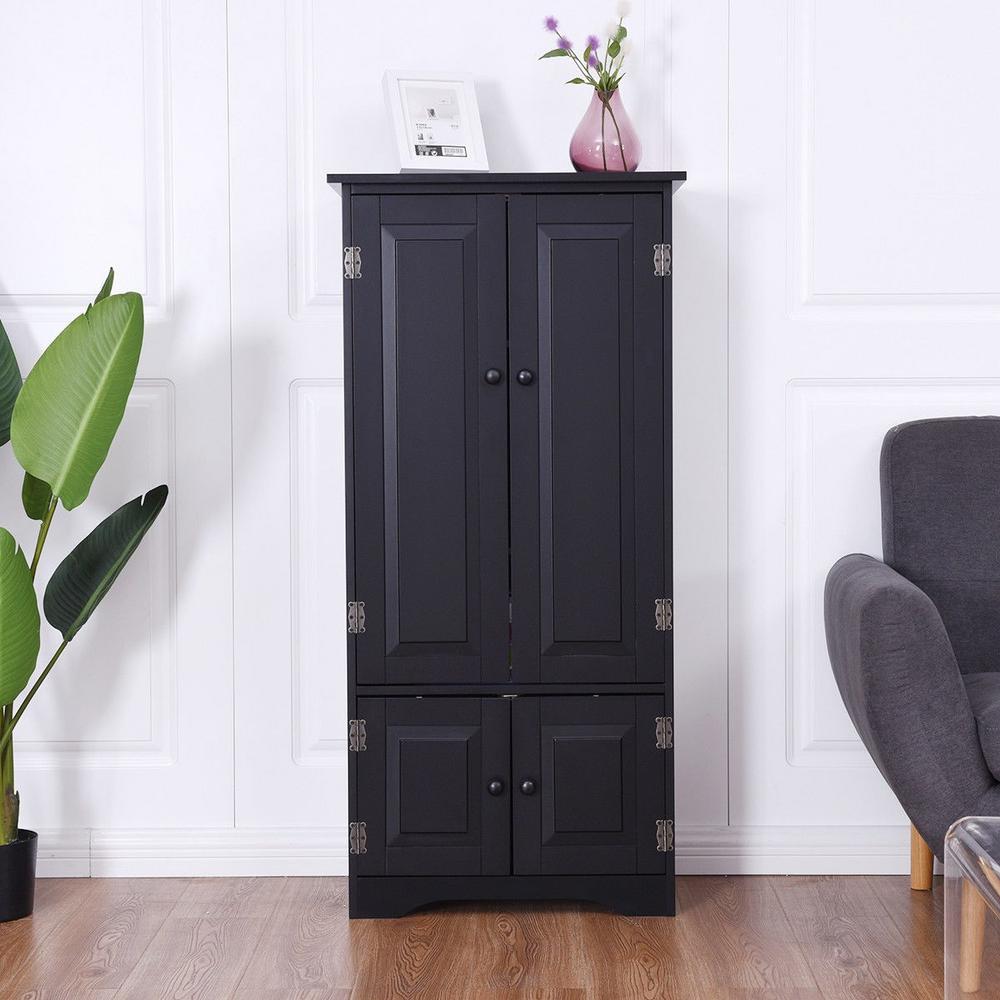 Black Accent Storage Cabinet with Adjustable Shelves