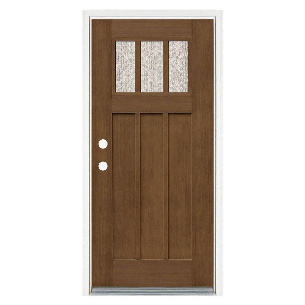 36 in. x 80 in. Medium Oak Right-Hand Inswing 3 Lite Water Wave Craftsman Stained Fiberglass Prehung Front Door