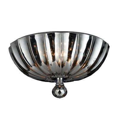 Mansfield Collection 3-Light Chrome and Smoke Crystal Flush Mount