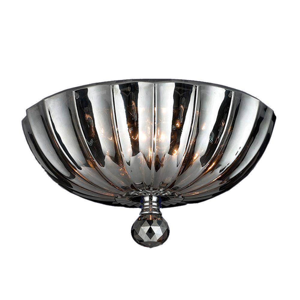 Worldwide Lighting Mansfield Collection 3-Light Chrome and Smoke Crystal Flushmount