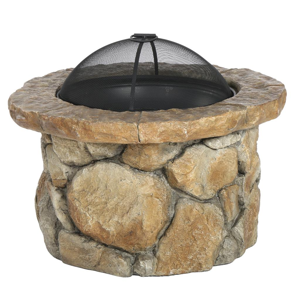 Noble House Samson 34 in. x 21 in. Round Cement Wood Burning Fire Pit in Natural