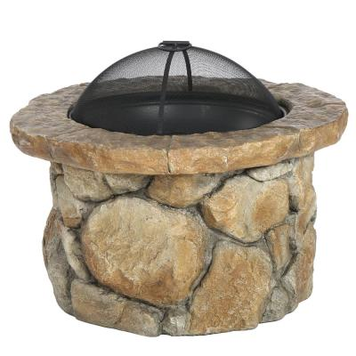 Samson 34 in. x 21 in. Round Cement Wood Burning Fire Pit in Natural