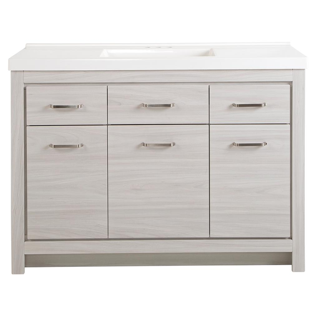 St. Paul Prestbury 49 in. W x 21 in. D x 36 in. H Bath Vanity in Elm Sky with Cultured Marble Vanity Top in White