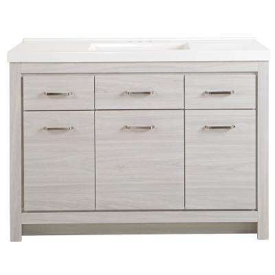 Prestbury 49 in. W x 21 in. D x 36 in. H Vanity in Elm Sky with Cultured Marble Vanity Top in White
