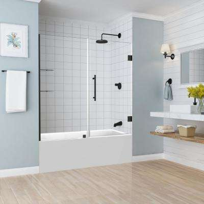 BelmoreGS 59.25 in. to 60.25 in. x 60 in. Frameless Hinged Tub Door with Glass Shelves in Oil Rubbed Bronze