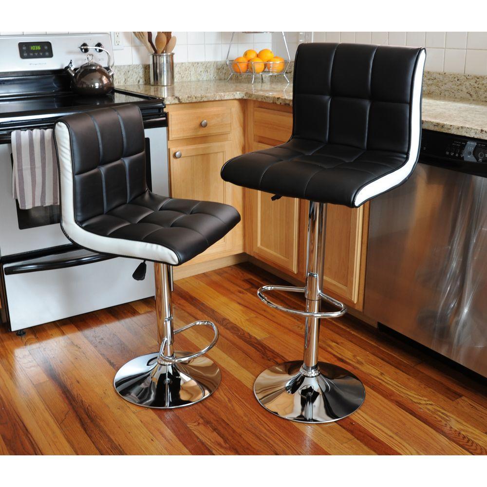 Adjustable Height Black Swivel Cushioned Bar Stool (Set of 2)