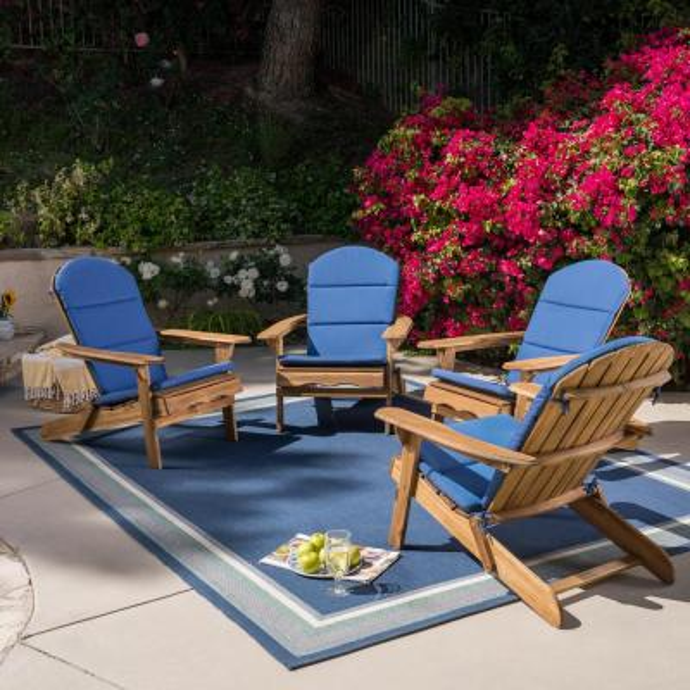 Malibu Natural Wood Adirondack Chair with Navy Blue Cushion (4-Pack)