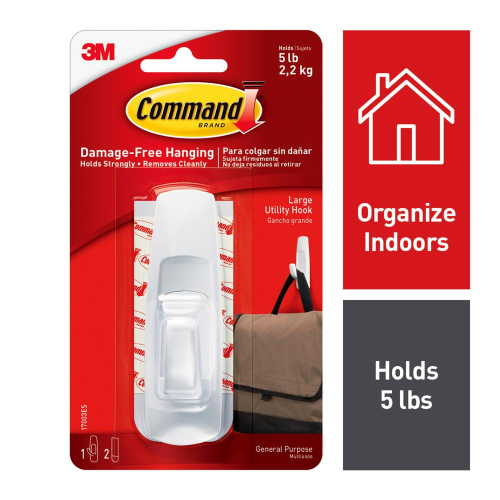 Command 5 Lbs Plastic Large Hook 1 Hook 1 Strip