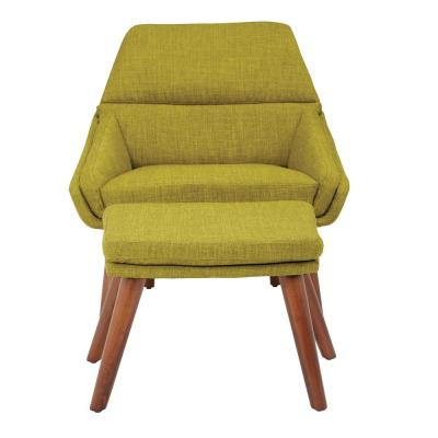 Bendal Green Fabric Chair and Ottoman with Coffee Legs