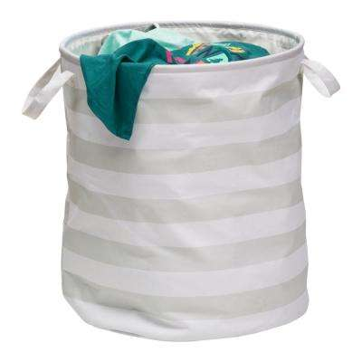 Grey Stripped Collapsible Laundry Hamper with Handles