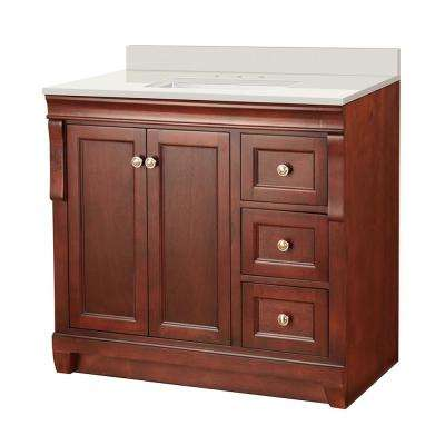 Naples 37 in. W x 22 in. D Vanity in Tobacco with Engineered Marble Vanity Top in Winter White with White Basin
