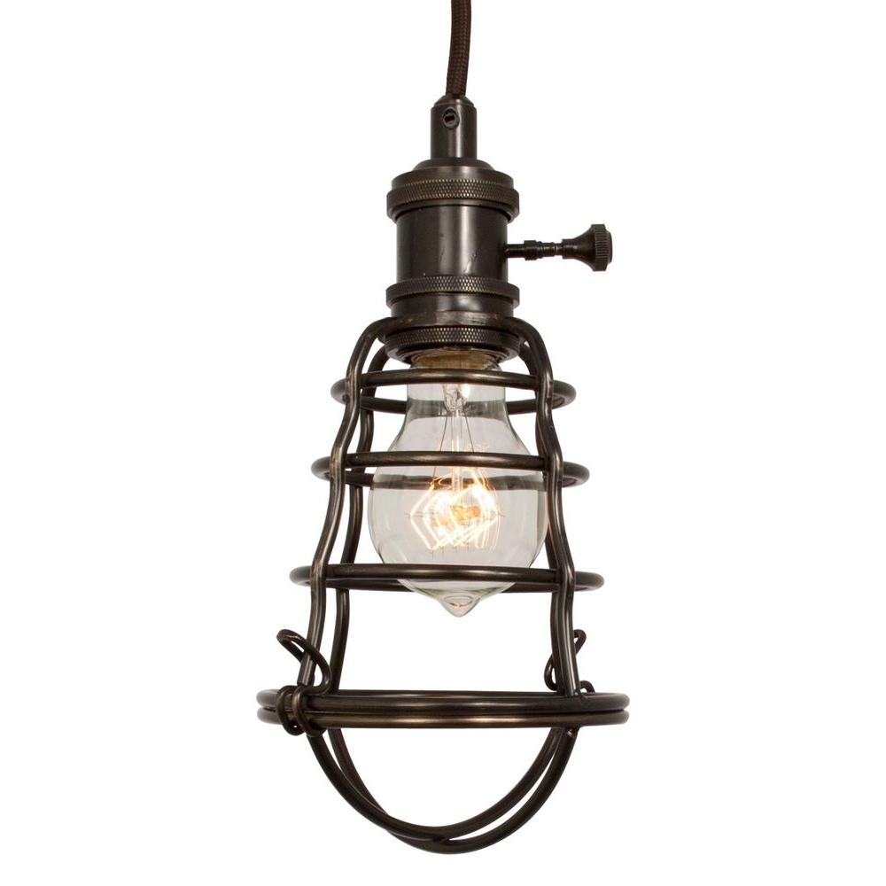 Home Decorators Collection 1 Light Aged Bronze Cage Pendant 25415